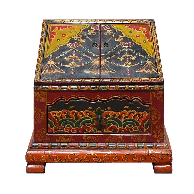 Tibetan Graphic Carved Wood Trunk - Image 1 of 4
