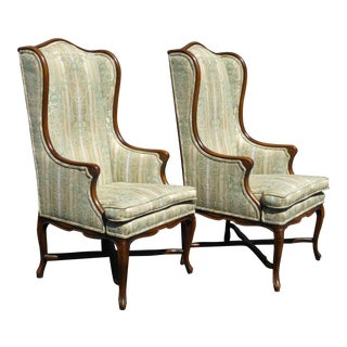 Vintage French Provincial Tallback Green Floral Stripped Wingback Chairs - a Pair