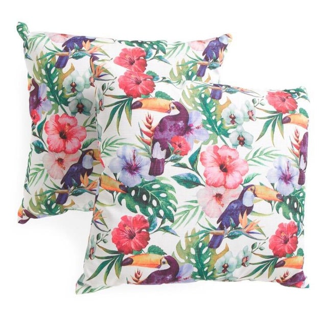 Watercolor Parrots & Palms Pillow - A Pair - Image 2 of 3