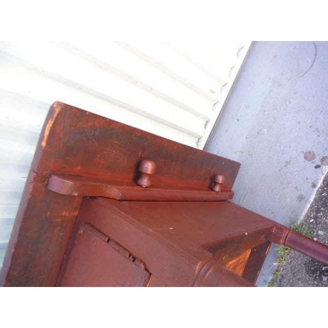 18thc Original Red Lift Top Tavern Table With Original Drawer - Image 10 of 10