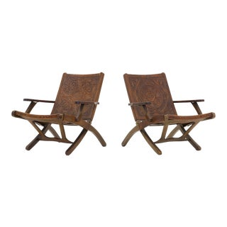 Pair of Ecuadorian folding chairs by Angel I. Pazmino for Muebles de Estilo 1960