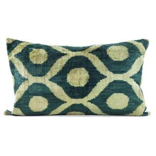 """Silk Velvet Emerald Green Ikat Pillow - 16"""" x 24"""""""