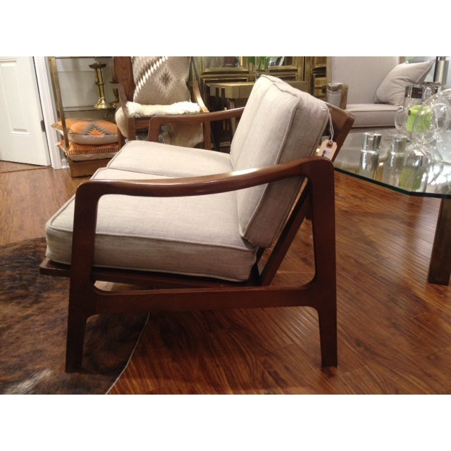 Mid Century Tan & Wood Frame Love Seat - Image 4 of 6