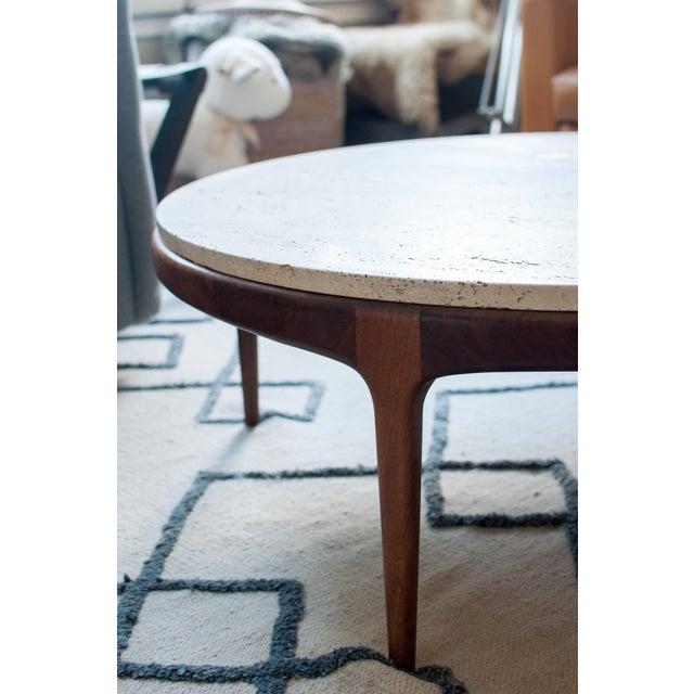 Vintage Travertine and Hardwood Coffee Table - Image 8 of 10