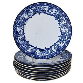 Antique Flow Blue Dinner Plates - S/10