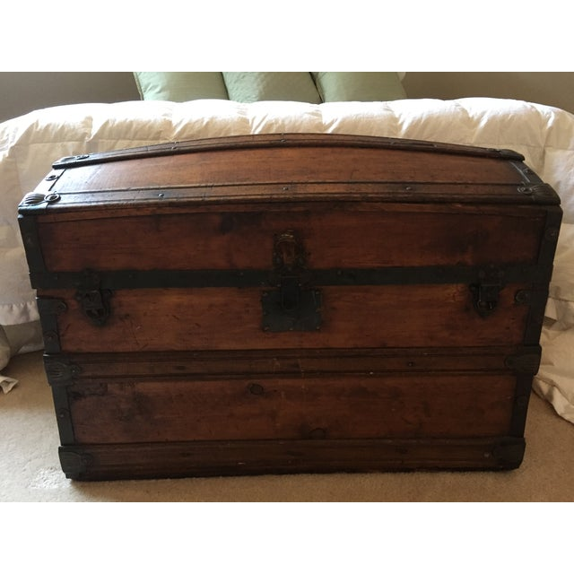 Image of Antique Dark Brown Storage Trunk