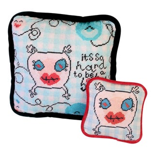 Printed Needlepoint Nursery Pillows - a Pair