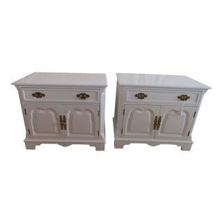Davis Cabinet Co. White Lacquer Nightstands - A Pair