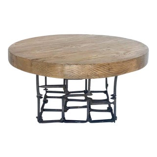 Round Reclaimed Wood and Iron Spike Cocktail Table