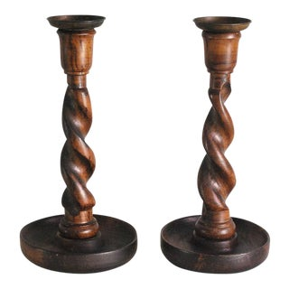 Antique English Oak Barley Twist Candle Holders - A Pair