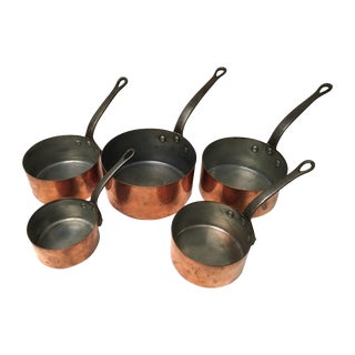 Antique French Copper Saucepans - Set of 5