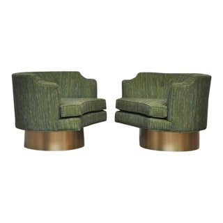 Harvey Probber Swivel Chairs on Brushed Brass Bases