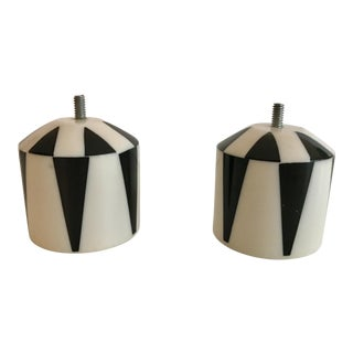 Black and White Finials - A Pair