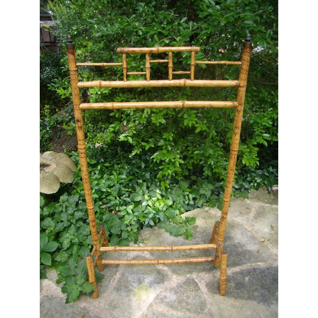 Antique Victorian English Scorched Bamboo Towel / Quilt Rack - Image 2 of 6
