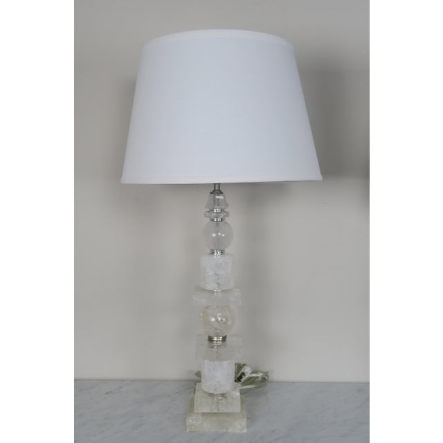Pair of Sculptural Rock Crystal Quartz Lamps w/ Linen Shades - Image 3 of 10