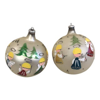 Hand Painted Italian Angel Ornaments - A Pair