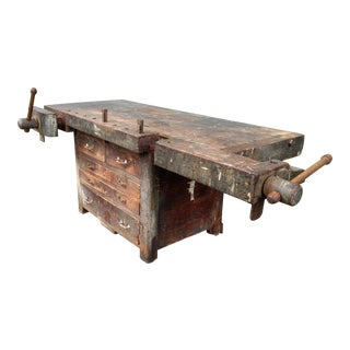 Antique Wooden Carpenter's Workbench