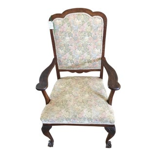 Antique Upholstered Oak Arm Chair