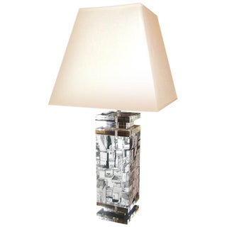 Stunning Lucite & Fabric Table Lamp