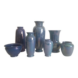Vintage 1920's Art Deco Cowan Blue Lusterware Porcelain Pottery - Set of 7