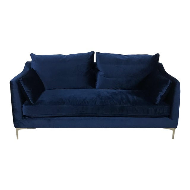 Royal Blue Velvet Sofa - Image 1 of 11