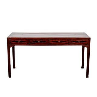 Rare 18th Century Chinese Deep Brown Walnut Four Drawer Double-Sided Desk