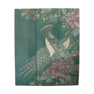 Three-Panel Peacock Oriental Wall Hanging