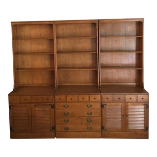 1950s Ethan Allen Wooden Wall Unit - Set of 3