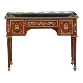 French Neoclassical Rosewood Leather Writing Desk, 19th Century