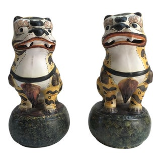 Large Italian Hand-Painted Tiger Foo Dogs - A Pair