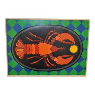 Pop Art Lobster Silkscreen Print c.1975 by Susan Perkinson