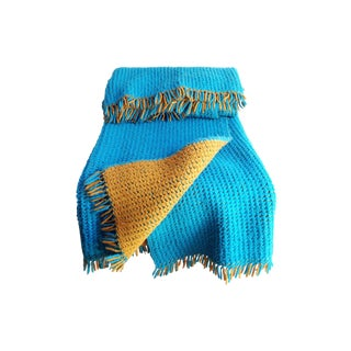Vintage Blue and Yellow Woven Throw Blanket