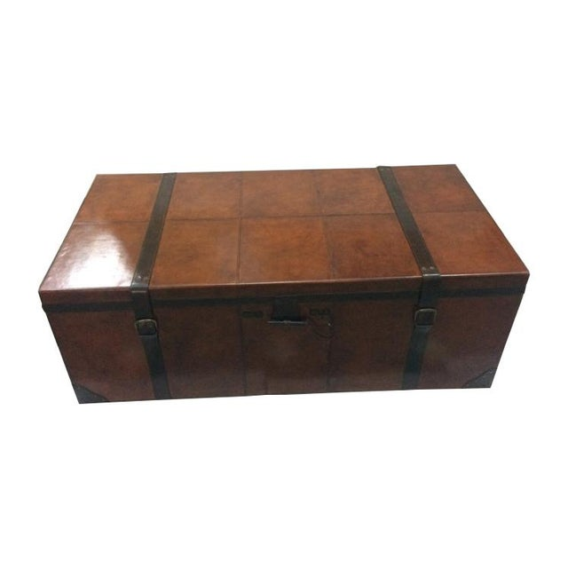 Rectangular Leather Manchester Storage Trunk Chest - Image 8 of 8