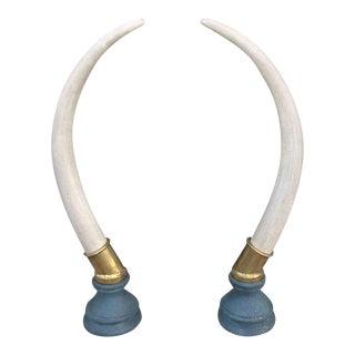Brass Hollywood Regency Faux Elephant Tusks - a Pair