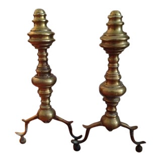 Antique Brass Fireplace Andirons- A Pair