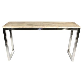 Modern Chrome and Wood Midcentury Inspired Console