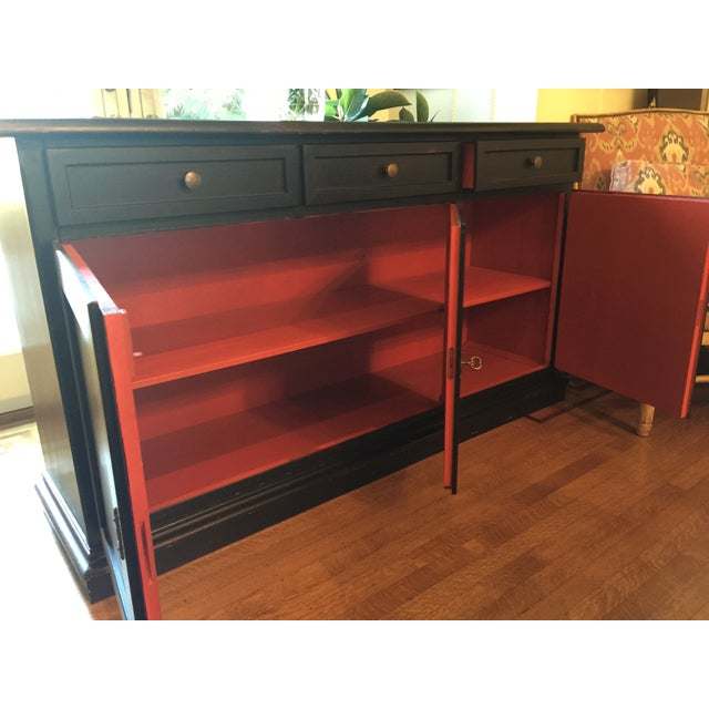 Black Pottery Barn Sideboard with Red Interior - Image 3 of 3