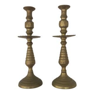 Oversized Brass Candlesticks - A Pair