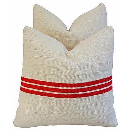 Image of Triple Red Stripe French Textile Pillows - A Pair