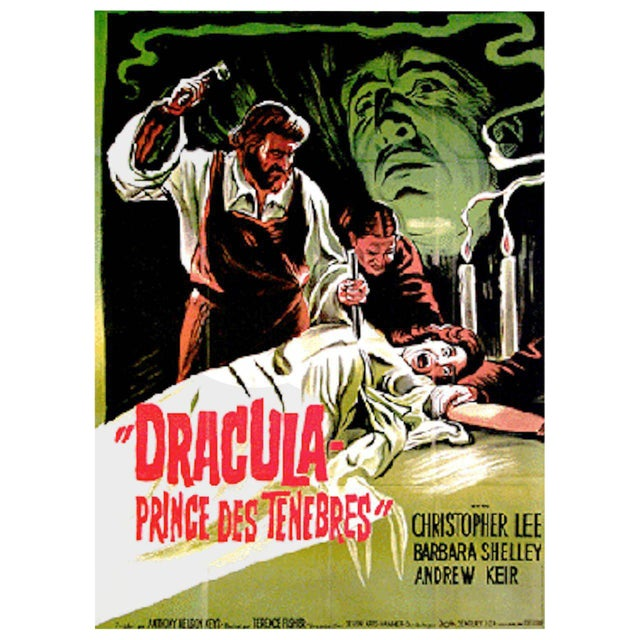 """1966 """"Dracula Prince of Darkness"""" Original Movie Poster in French - Image 1 of 2"""