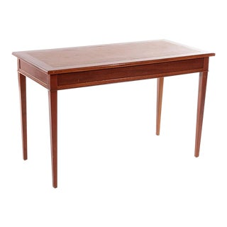 French 1940's Louis XVI Style Mahogany Leather Top Writing Desk