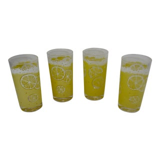 Fred Press Mid-Century Yellow Lemonade Glasses- Set of 4