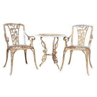 Cast Iron Rose Bistro Set, 3pcs