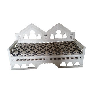 Moroccan Hand-Carved Wood Sofa