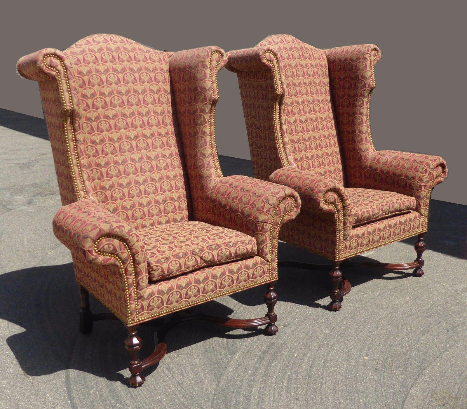Pair Of Vintage Lee Jofa Custom Throne Accent Burgundy Arm Chairs With  Goose Down Cushions