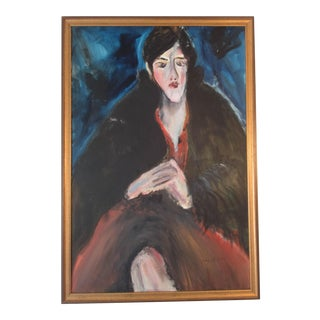 Montparnasse French Style Oil Portrait of a Woman