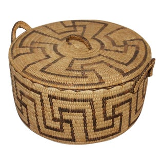 Amazing Lided Papago Basket with Handles