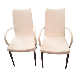 White Leather & Chromed Steel Tube Legs Arm Chairs - A Pair