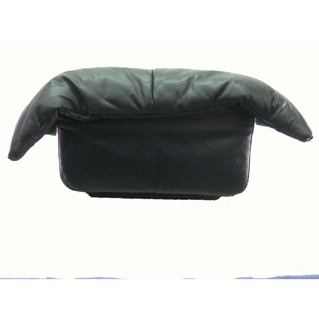 Ligne Roset Black Leather Ottoman - Image 4 of 5