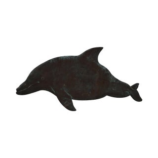 Hammered Copper Weathered Dolphin Wall Sculpture
